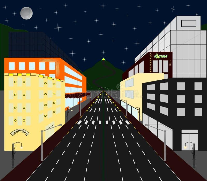 Mening van stad met gekleurde huizen en winkels en gemaakt centraal perspectief stock illustratie