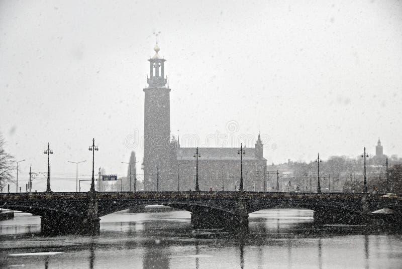 Mening van Stadhuis (Stadhuset). Stockholm, Zweden stock afbeeldingen