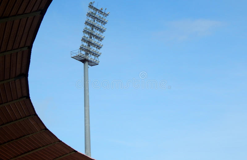 Mening van Stadionverlichting stock afbeeldingen
