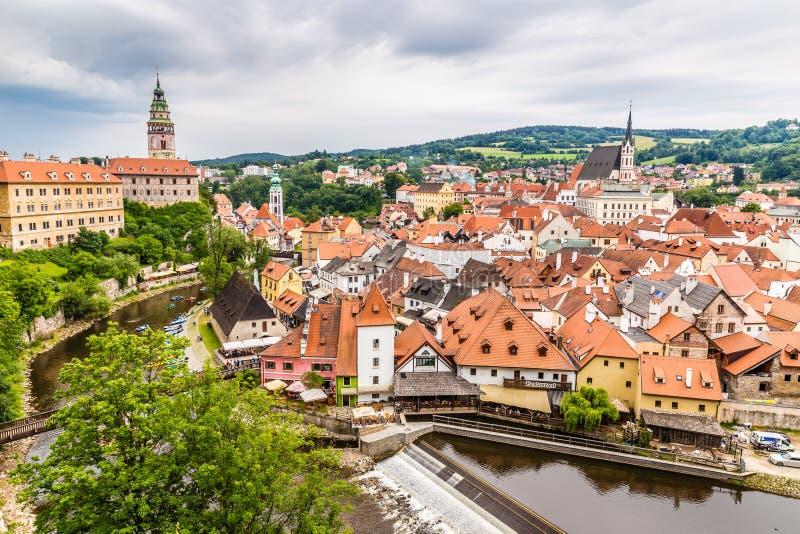 Mening van stadscentrum Cesky Krumlov, Tsjechische republiek stock fotografie