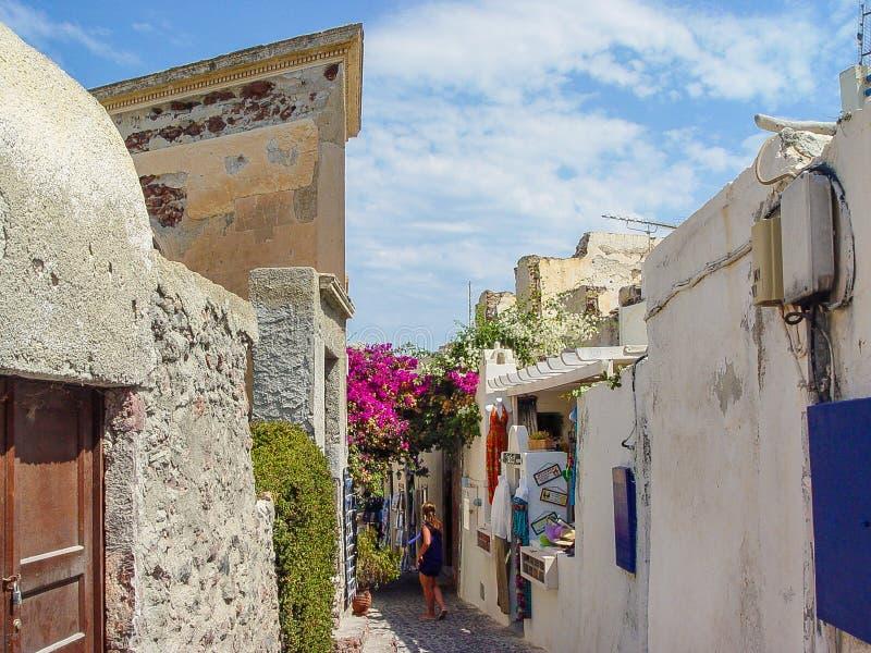 Mening van straat in Santorini een Grieks eiland stock fotografie