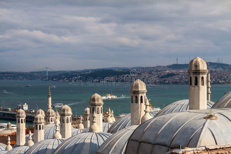 Mening van Suleymaniye-moskee aan Bosphorus, Istanboel royalty-vrije stock afbeelding
