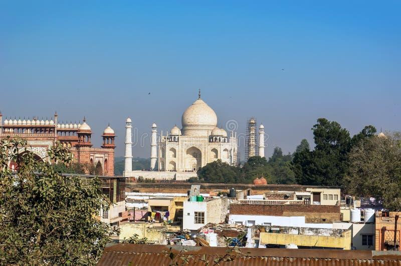 Mening van Taj Mahal stock foto's