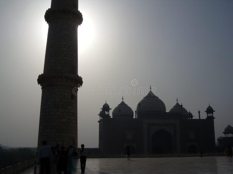 Mening van Taj Mahal Minarrate en Moskee in Agra, India, Azië royalty-vrije stock afbeeldingen
