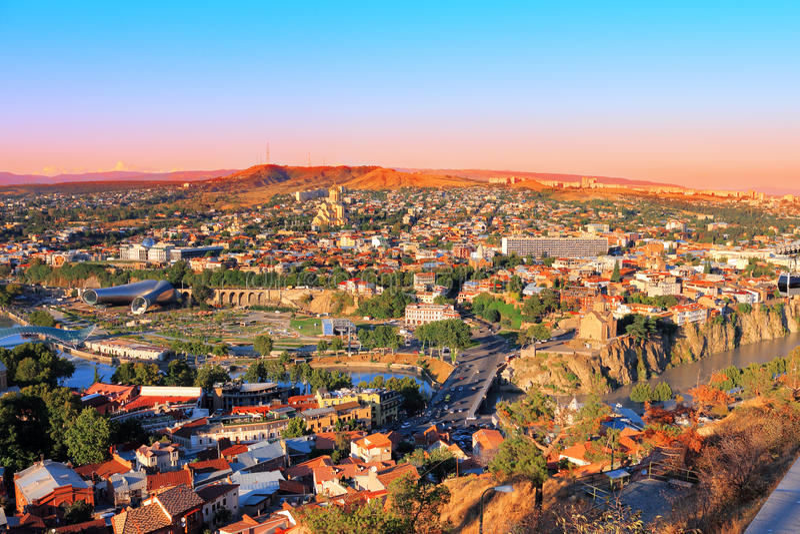 Mening van Tbilisi royalty-vrije stock foto