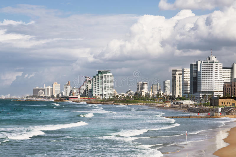 Mening van Tel Aviv en de Mediterrane kust stock afbeeldingen