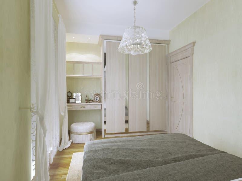 Moderne Garderoben mening toilettafel en garderobe in moderne slaapkamer stock