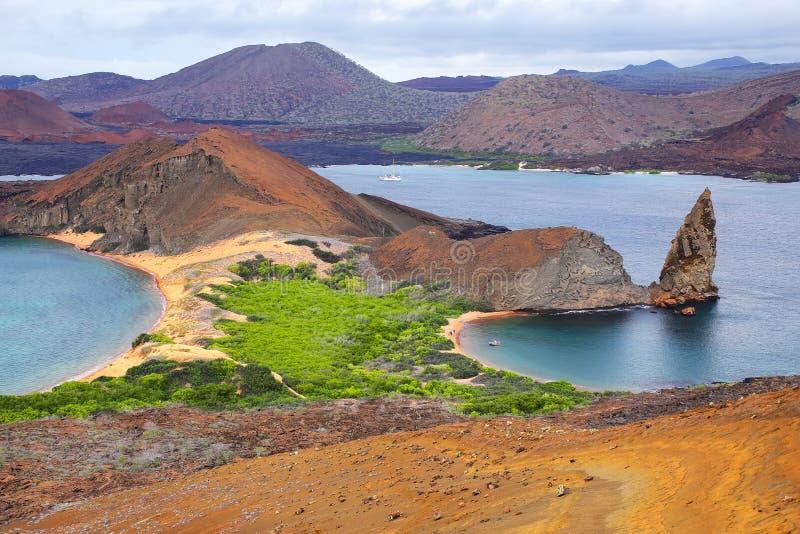 Mening van Toprots op Bartolome-eiland, de Nationale Pa van de Galapagos royalty-vrije stock foto