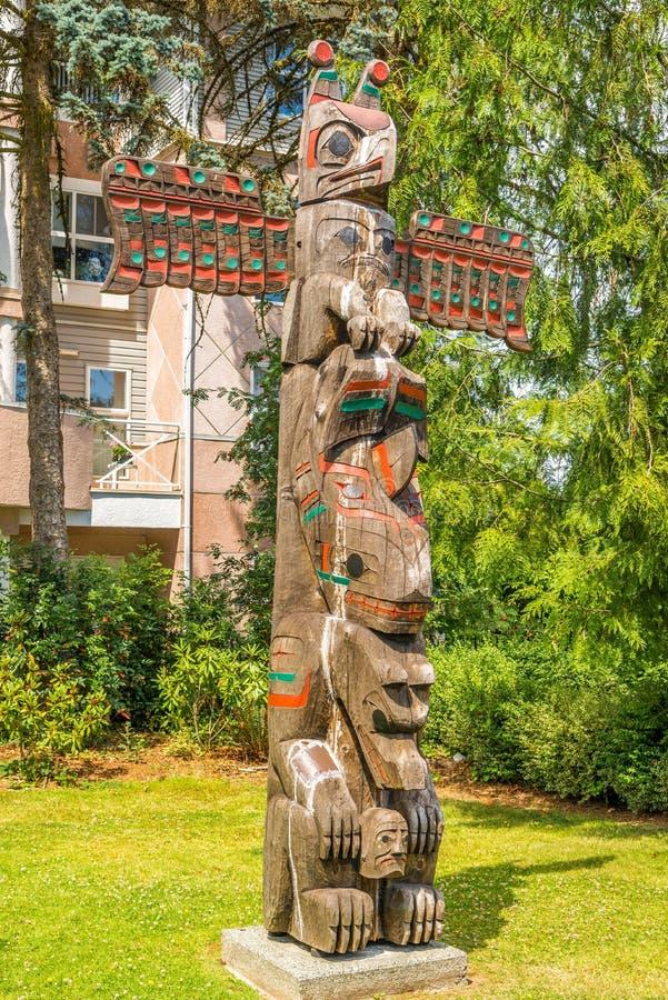 Mening van totems in Duncan - Canada royalty-vrije stock foto's