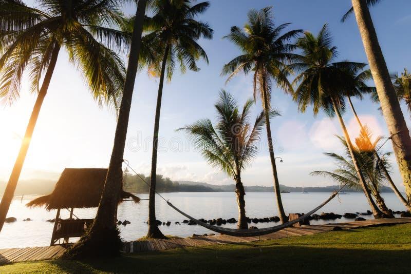 Mening van tropisch strand met kokosnotenpalmen, hut en wieg bij royalty-vrije stock fotografie