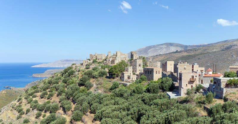 Mening van Vatheia-dorp in Mani, de Peloponnesus, Griekenland royalty-vrije stock afbeelding