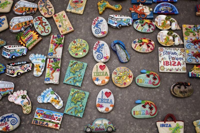 Mening van vele herinneringen/magneten van Ibiza stock afbeeldingen