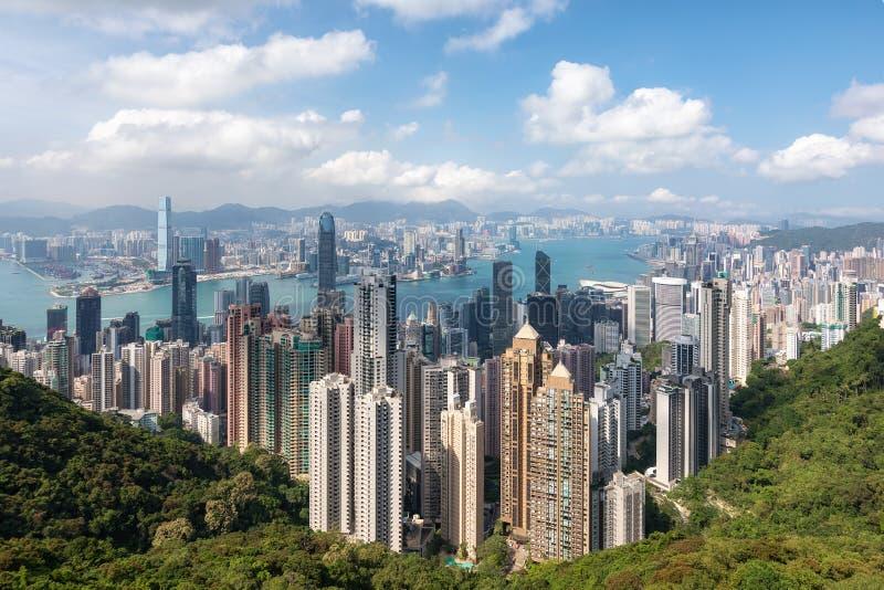 Mening van Victoria Peak aan de iconische horizon van Hong Kong stock afbeeldingen
