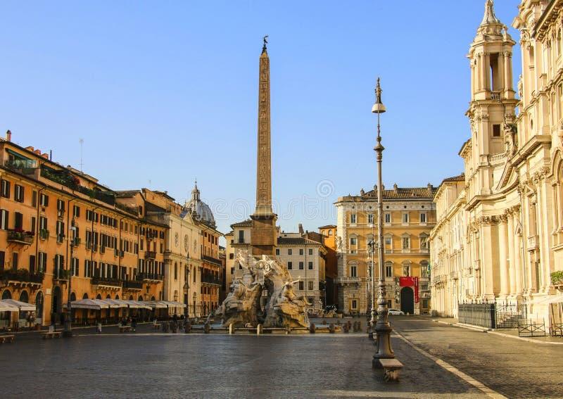 Mening van Vierkante Piazza Navona van Navona in Rome, Italië stock foto's