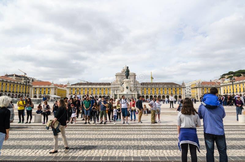 Mening van vierkante Praca do Comercio in Lissabon stock fotografie