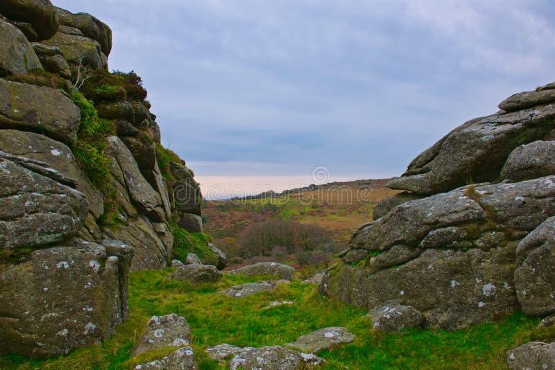 Mening van Vixen Tor Dartmoor stock foto