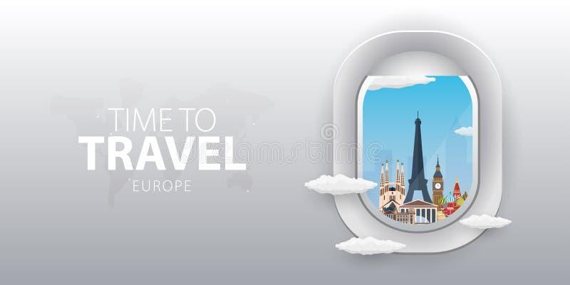 Mening van vliegtuig Vluchtvenster europa Vlakke Web vectorbanner vector illustratie