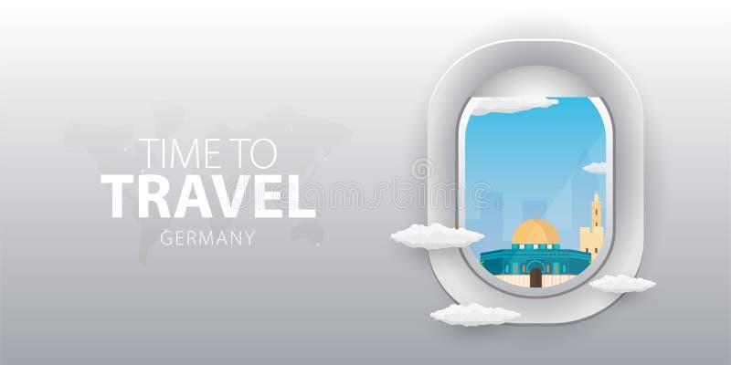 Mening van vliegtuig Vluchtvenster israël Vlakke Web vectorbanner royalty-vrije illustratie