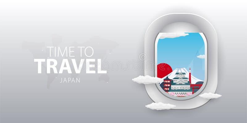 Mening van vliegtuig Vluchtvenster japan Vlakke Web vectorbanner vector illustratie
