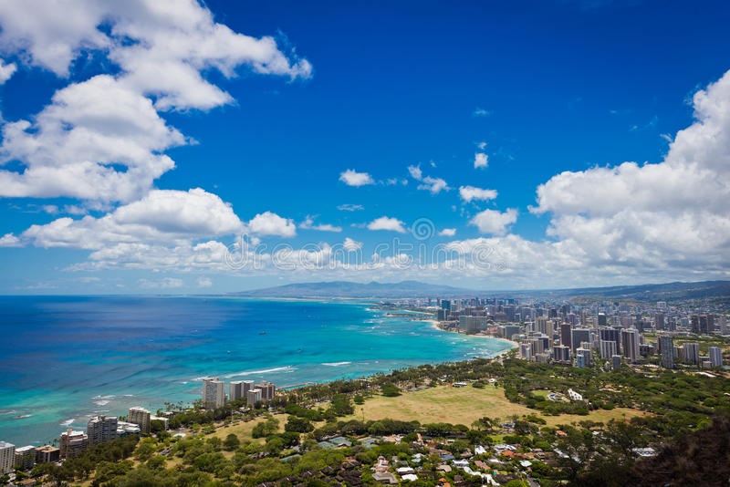 Mening van Waikiki en Honolulu van Diamond Head royalty-vrije stock fotografie