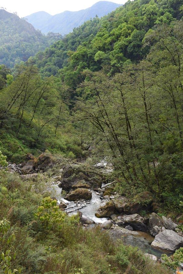 Mening van waterweg in Nepal royalty-vrije stock fotografie