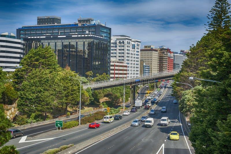 Mening van Wellington Urban Motorway royalty-vrije stock afbeelding