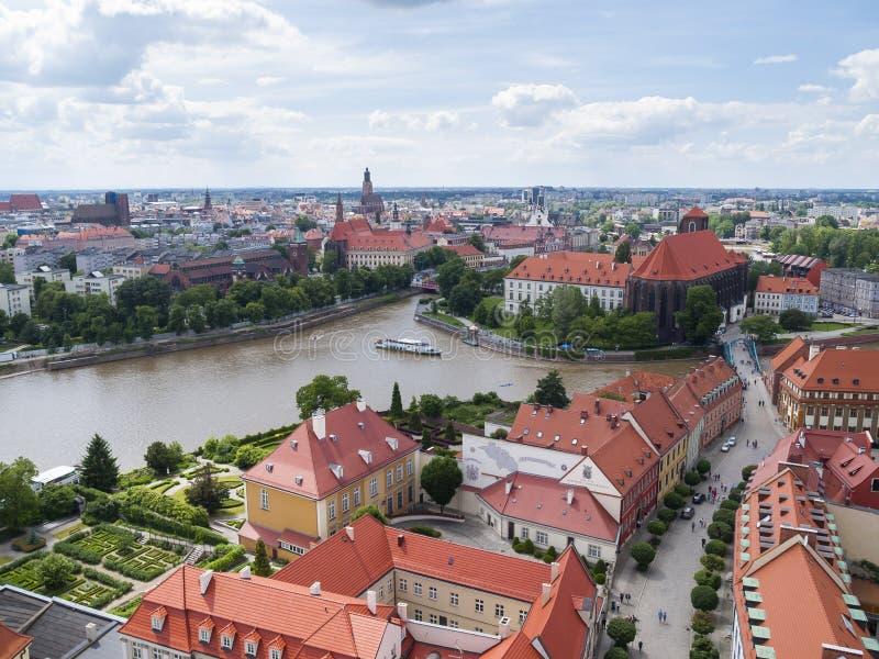 Mening van Wroclaw stock afbeeldingen