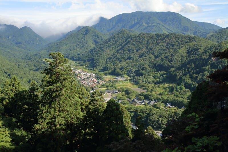 Mening van Yamadera in Yamagata, Japan stock afbeeldingen