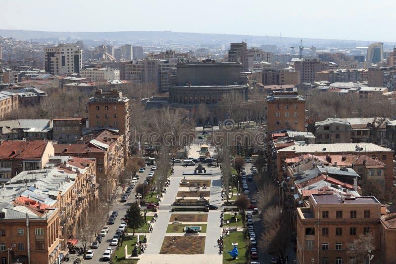 Mening van Yerevan van Cascade stock foto's
