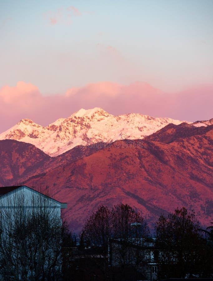 Mening van zonsondergang de roze Italiaanse Alpen van Turijn royalty-vrije stock afbeelding