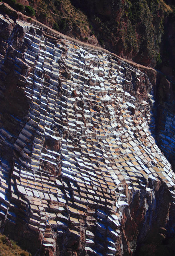 Mening van Zoute vijvers, Maras, Cuzco royalty-vrije stock foto