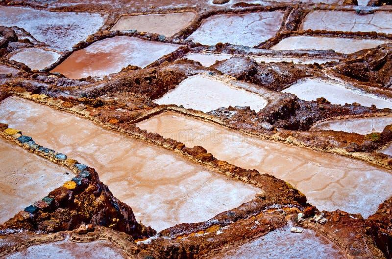 Mening van Zoute vijvers, Maras, Cuzco, Peru royalty-vrije stock afbeeldingen