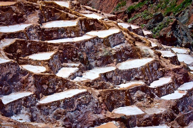 Mening van Zoute vijvers, Maras, Cuzco, Peru royalty-vrije stock fotografie