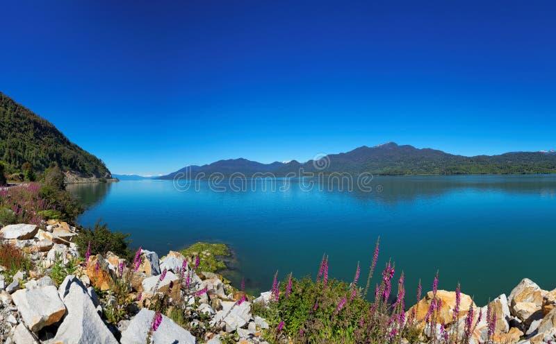 Mening van Zuidelijke Carretera, Puyuhuapi, Patagonië, Chili stock foto's