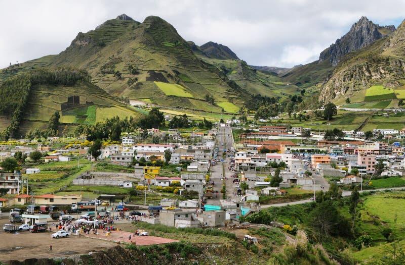 Mening van Zumbahua-dorp royalty-vrije stock fotografie