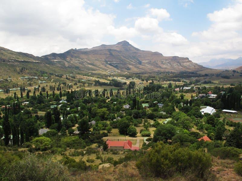 Mening vanaf bovenkant op Clarens, Zuid-Afrika stock fotografie
