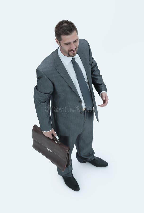 Mening vanaf de bovenkant een ervaren advocaat met een aktentas stock foto