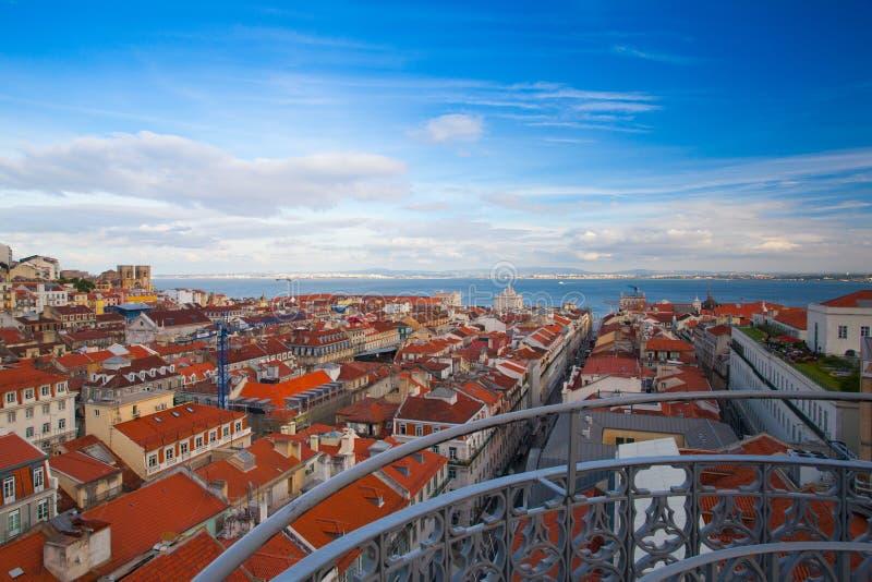 Mening vanaf de bovenkant van de Santa Justa-lift op Lissabon stock afbeeldingen
