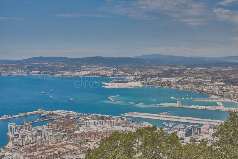 Mening vanaf de bovenkant van de rots van Gibraltar stock foto