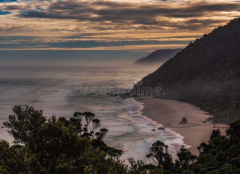 Meningen over het Strand van Scott, Zuideneiland, Nieuw Zeeland royalty-vrije stock foto
