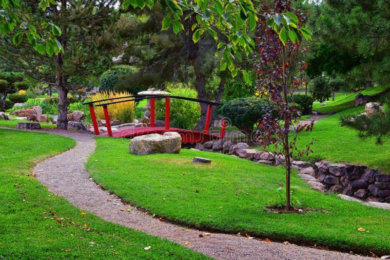 Meningen van de Internationale Vredestuinen wat een botanische die tuin in Jordan Park in Salt Lake City wordt gevestigd is, Utah stock foto's