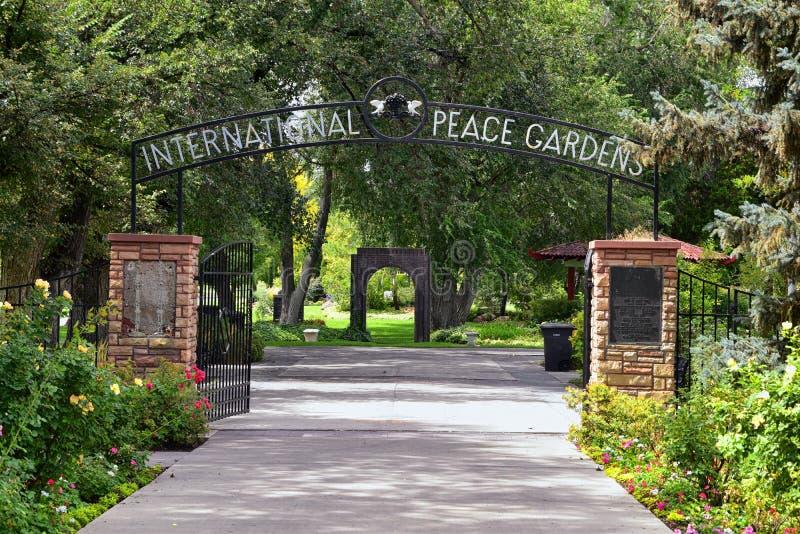 Meningen van de Internationale Vredestuinen wat een botanische die tuin in Jordan Park in Salt Lake City wordt gevestigd is, Utah stock afbeeldingen