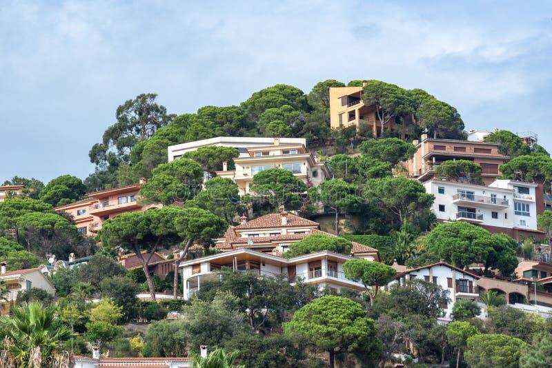 Meningen van de Spaanse toevluchtstad van Lloret de Mar, Costa Brava, Catalonië, Spanje royalty-vrije stock afbeeldingen
