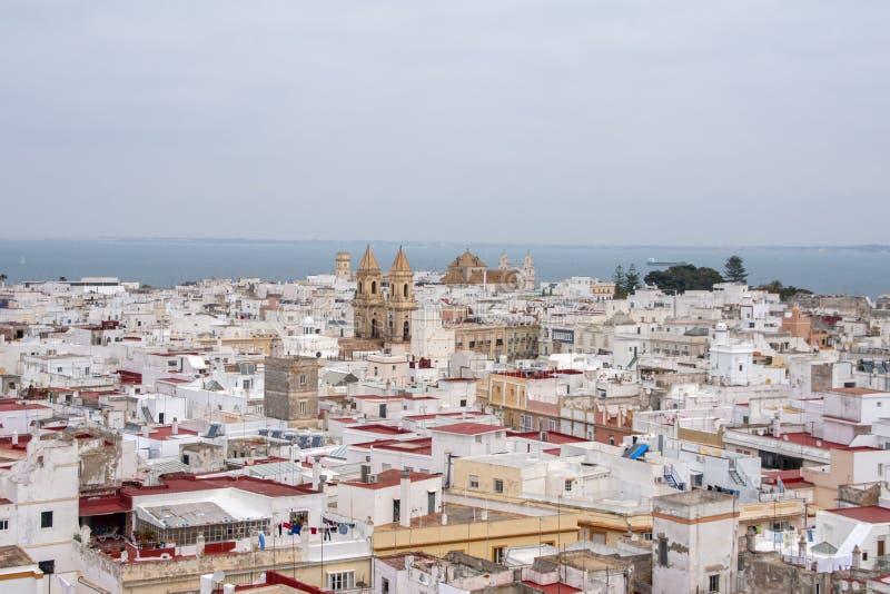 Meningen van de stad van Cadiz, Andalusia stock fotografie