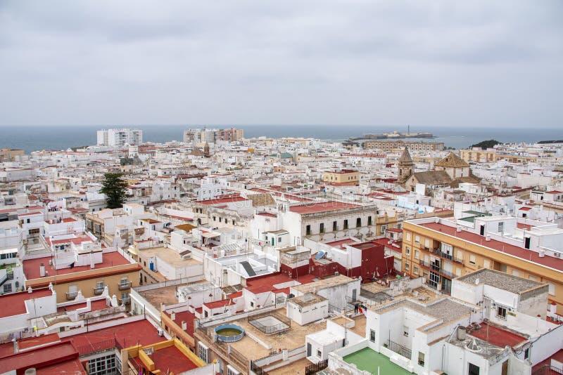 Meningen van de stad van Cadiz, Andalusia royalty-vrije stock foto's