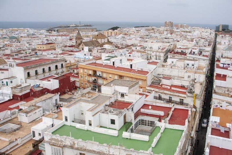 Meningen van de stad van Cadiz, Andalusia royalty-vrije stock foto