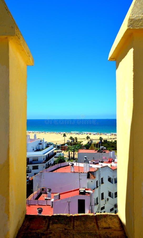 Meningen van de stad van La Frontera, Cádiz van Conil DE stock afbeelding
