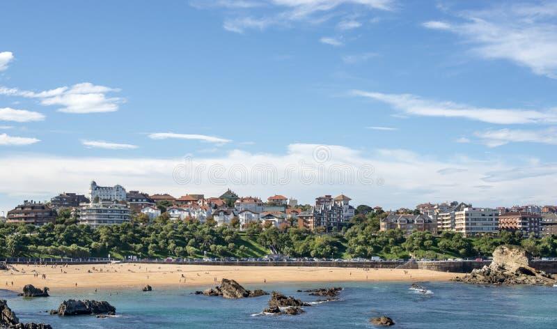 Meningen van de stad van Santander en Sardinero-strand, Cantabrië, Spanje. royalty-vrije stock foto