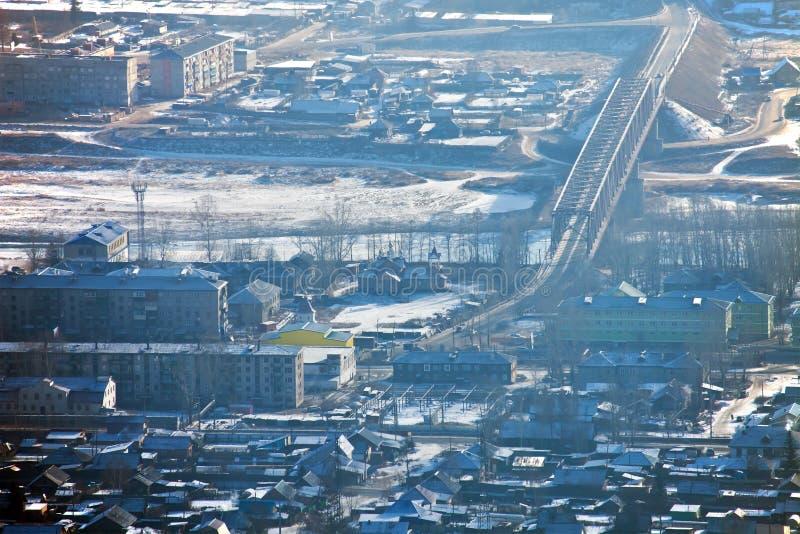 Meningen van de wegbrug over de rivier van Lena in ust-Kut royalty-vrije stock afbeelding