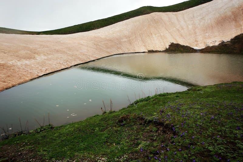 Meningen van het alpiene meer Coruldi waar de zomer niet de sneeuw smelt stock foto's